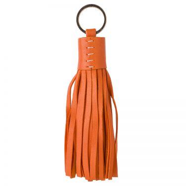 Orange Leather Tassel Keyring
