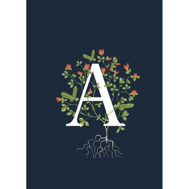 Botanical Navy Alphabet Greeting Cards