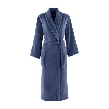 Women's Slate Blue Shawl Collar Towelling Robe