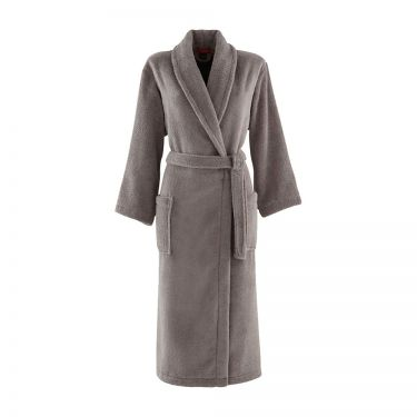 Women's Taupe Shawl Collar Towelling Robe