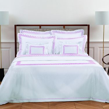 Yves Delorme Couture Diademe Blanc / Rose 500 Thread Count Duvet Covers