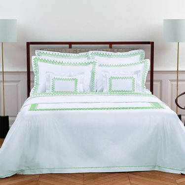 Yves Delorme Couture Diademe Blanc / Vert 500 Thread Count Duvet Covers