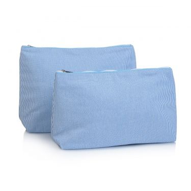 Blue Pique Wash Bag & Cosmetic Bag