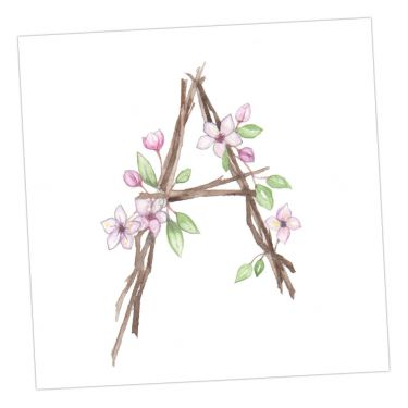 Small Floral Alphabet Greeting Cards