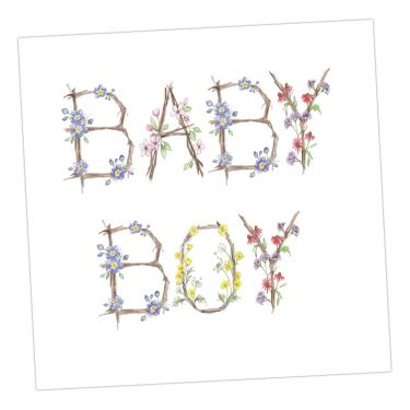 Small Floral Greeting Card - Baby Boy