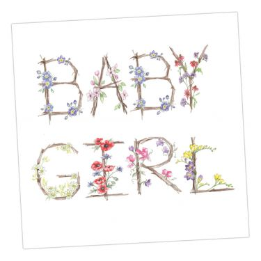 Floral Greeting Card - Baby Girl