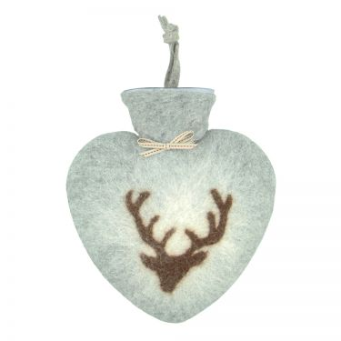 Merino Wool Deer Hot Water Bottle Light Grey