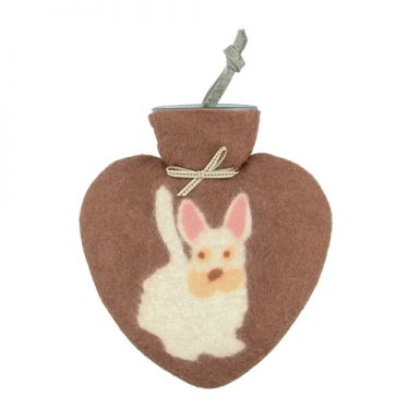 Merino Wool Dog Hot Water Bottle Terracotta