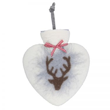 Merino Wool Deer Hot Water Bottle White
