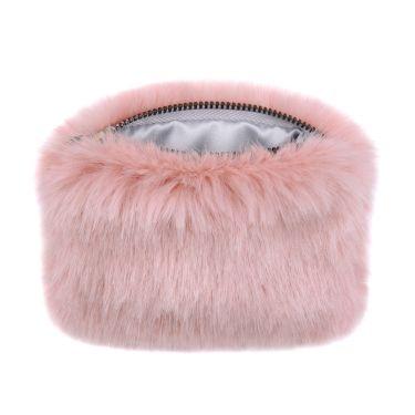 Dusky Pink Faux Fur Coin Purse