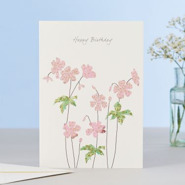 Geranium Happy Birthday Card