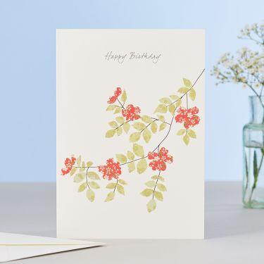Dog Rose Happy Birthday Card