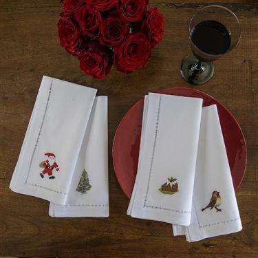Festive Napkins- Christmas Tree, Santa, Christmas Pudding, Robin