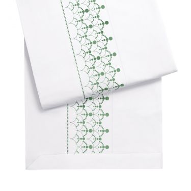 Yves Delorme Couture Diademe Blanc / Vert 500 Thread Count Flat Sheets