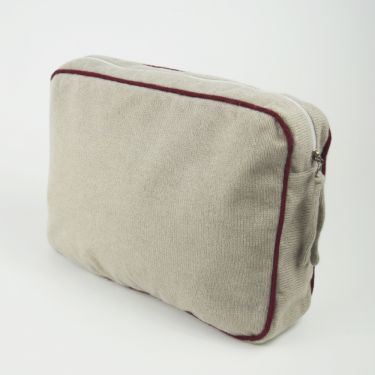 Large Cashmere Travel Bag Grey and Burgundy