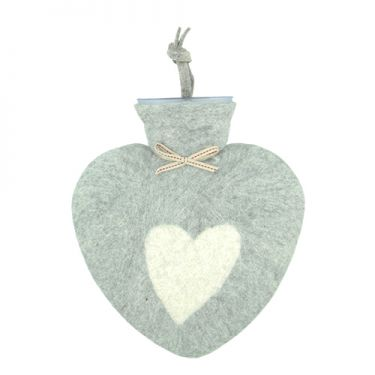 Merino Wool Heart Hot Water Bottle Grey
