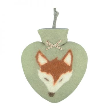 Merino Wool Fox Hot Water Bottle Jade