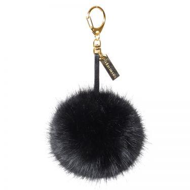 Jet Black Faux Fur Pom-Pom Key Ring