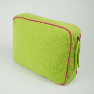 Large Cashmere Travel Bag Green and Pink