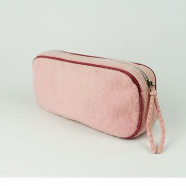 Small Cashmere Travel Bag Pink and Raspberry