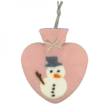 Merino Wool Snowman Hot Water Bottle Rose
