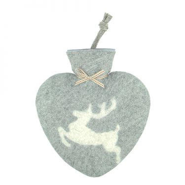 Merino Wool Prancing Stag Hot Water Bottle Grey
