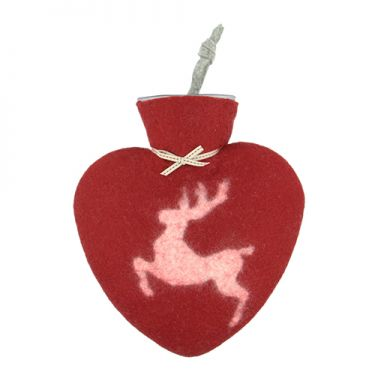 Merino Wool Prancing Stag Hot Water Bottle Red