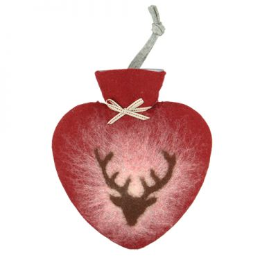 Merino Wool Deer Hot Water Bottle Red