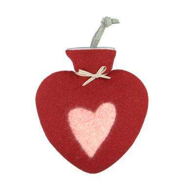 Merino Wool Heart Hot Water Bottle Rose