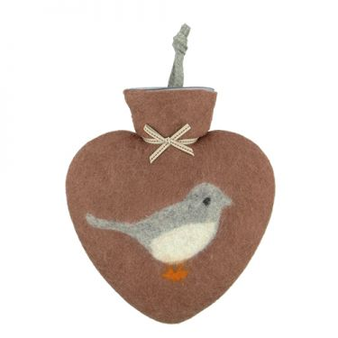 Merino Wool Robin Hot Water Bottle Terracotta