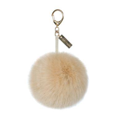 Natural Sand Faux Fur Pom-Pom Key Ring
