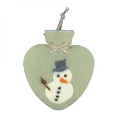 Merino Wool Snowman Hot Water Bottle Jade