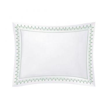 Yves Delorme Couture Diademe Blanc / Vert 500 Thread Count Pillowcases
