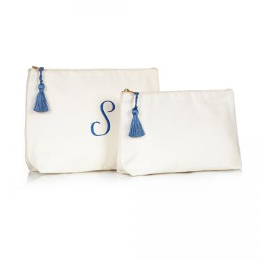 Cream Pique Wash Bag & Cosmetic Bag