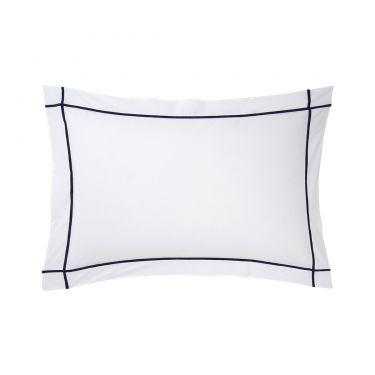 Yves Delorme Athena Marine Cotton Percale 500 Thread Count Pillowcases